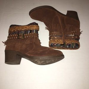 Shoes - Heeled Tribal Aztec Fringe  faux suede bootie